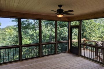 screen in porch overseeing trees