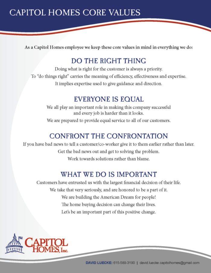 Capitol Homes Core Values
