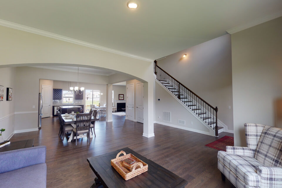 family room with staircase
